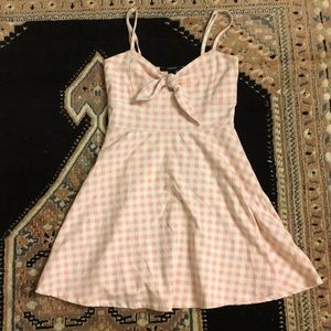 F21 gingham pink skater dress small